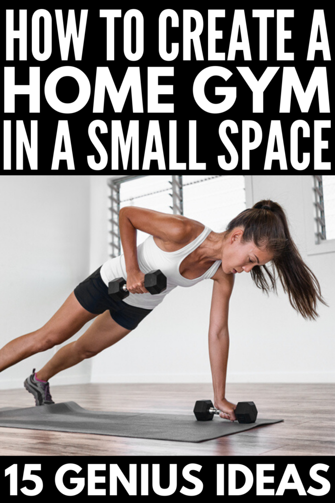 15 Home Gym Ideas | If you're looking for DIY tips and hacks to help you transform a small space in your bedroom, basement, or garage into a home gym, we're sharing 15 budget friendly ideas to inspire you! These cheap home gym essentials and simple home gym organization ideas will help you tighten and tone your body while also getting in a cardio workout without leaving your house! From tips for transforming small spaces into a gym, to gym equipment swaps, these hacks are a dream come true!
