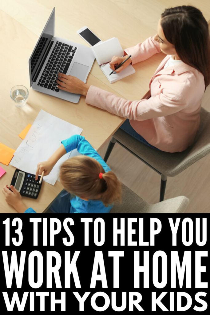 How to Work From Home with Kids | If you're a mom or dad in search of time management tips to help you be effective with your job while still being an awesome parent, this post is for you! Whether you're dealing with school closures, sick days, or school holidays, you're a stay at home mom working a side hussle to earn a little extra money to help with your monthly budget expenses, or you're switching to a full time career as a work at home mom, these productivity tips for moms and dads work!