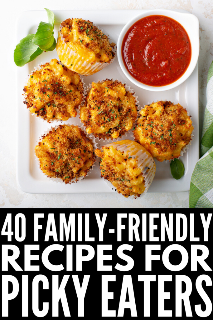 48 Tips and Recipes For Picky Eaters | Most kids go through a period of fussy eating, but some take it to the extreme. Whether you have toddlers, school-aged kids, tween, or teens, finding a balance between serving healthy meals and avoiding power struggles can be difficult! We're sharing 8 tips and 40 delicious breakfast, lunch, dinner, and snack recipes the whole family will love! With tons of simple and easy hidden veggies recipes to choose from, these recipes will save your sanity.
