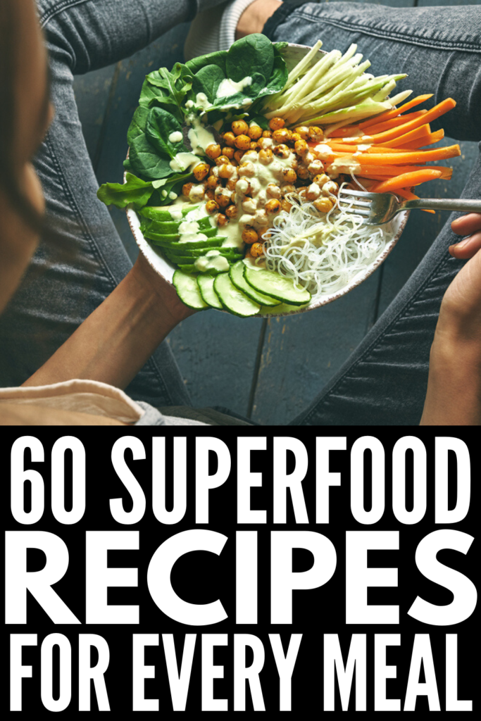 60 Superfood Recipes for Every Meal | If you're looking for healthy ways to upgrade your breakfast, lunch, dinner, snacks, and desserts with good for your ingredients like dark leafy greens, berries, nuts, seeds, salmon, and avocado, we've curated the best of the best! These clean eating recipes are packed with vitamins, minerals, and antioxidants, and since they're also low in calories, they're good for weight loss and for fat burning too!