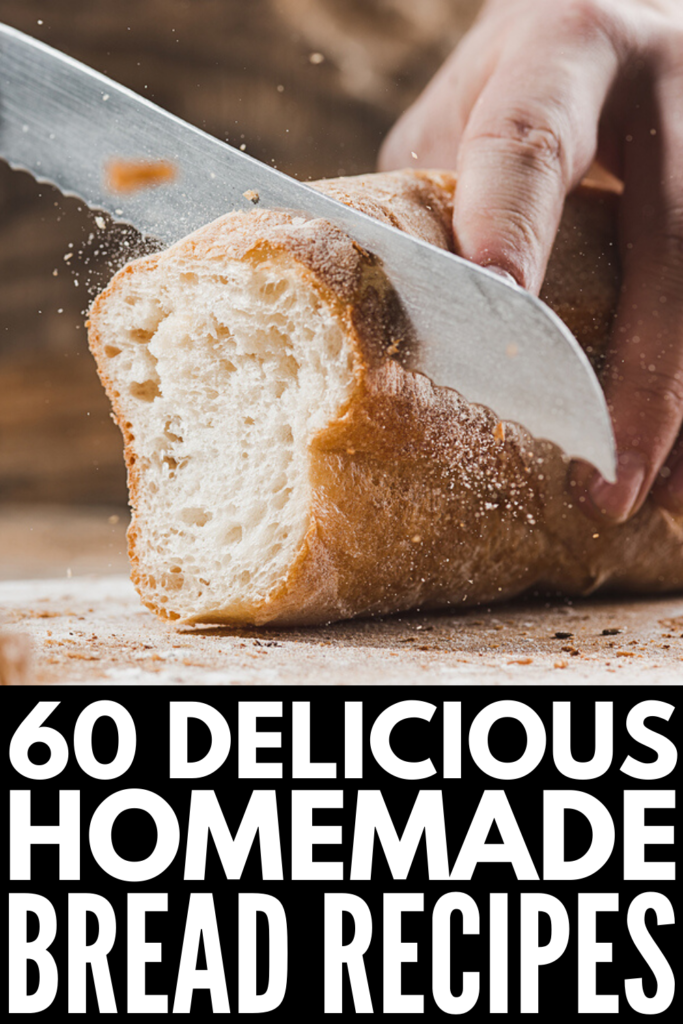 60 Homemade Bread Recipes to Try | If you're looking for easy simple and healthy homemade bread recipes, we've got tons of ideas to help! From the best recipes for beginners, to easy no yeast recipes, to whole wheat and sour dough recipes, to our favorite gluten free bread recipes you can make by hand, we've got you covered. Whether you're making bread in the oven, instant pot, or a bread maker, we've got a recipe for you!