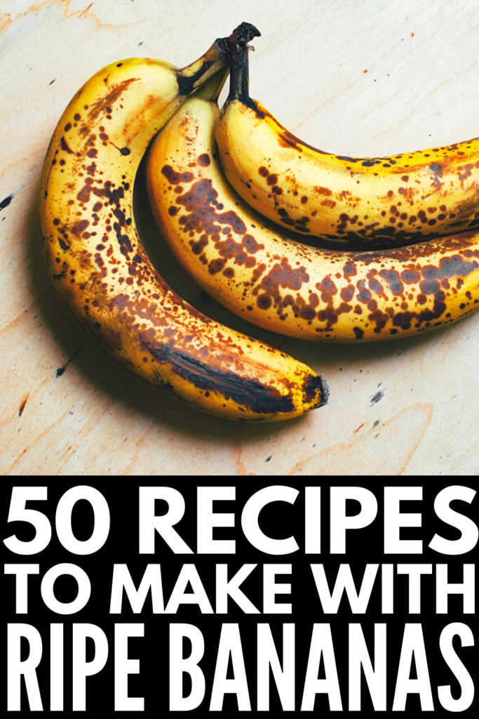 50 Ripe Banana Recipes | If you're looking for easy, healthy, and delicious ways to bake with your over ripe bananas, you're in for a treat! We've curated 50 recipes using ripe bananas, including many that only use one, 2, or 3 ingredients! From breakfast muffins, to healthy gluten free banana bread, to low carb easy desserts, you'll never worry what to make with ripe bananas again. The banana pudding cheesecake recipe is my favourite!