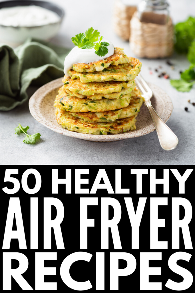 50 Healthy Air Fryer Recipes to Try | Love fried foods but don't like what they do to your waistline (and health)? An air fryer adds a little crunch without the added fat and calories. We're curated tons of air fryer recipe ideas for every palette and dietary need. Whether you're on a healthy low carb keto diet, lead a strict vegan lifestyle, or fall somewhere in between, these easy recipes will wow you! From chicken and salmon dishes to zucchini and sweet potato fries, these are delicious!