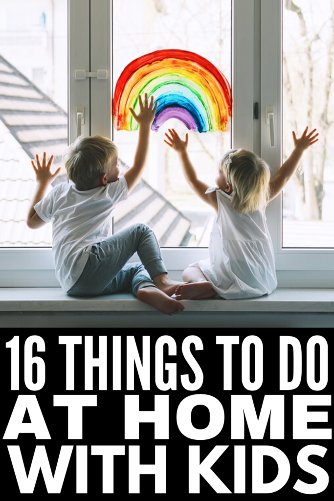 16 Things to Do At Home with Kids | If you're looking for ways to keep kids busy at home, we've got 16 easy ideas to help get your creative juices flowing! Whether you're looking for DIY indoor crafts for rainy days, outdoor activities that burn energy on hot summer days, or games to play as a family, these ideas are easy to setup and perfect for families to enjoy together when social distancing prevents you from organizing playdates and backyard barbeques with family and friends.