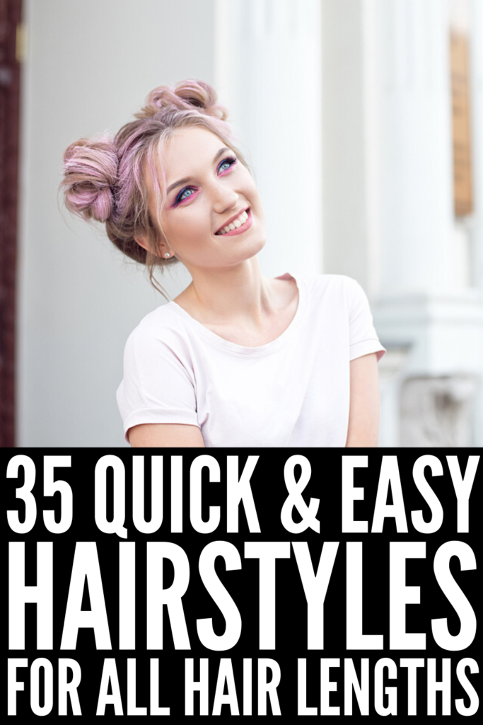 35 Lazy Hairstyles for All Hair Lengths | If you're looking for quick hairstyles that are cute and easy to re-create on days you're running late, these styles will inspire you! Perfect for school, for work, and everything in between, learn how to upgrade a basic ponytail and messy bun with these simple and chic updos. Whether you have straight or curly hair, we have styles for short hair, for medium hair, and for long hair we're sure you'll love!