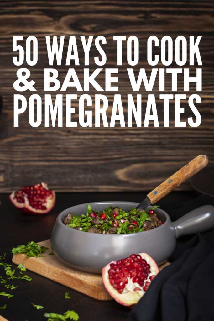50 Pomegranate Recipes | From refreshing drinks and decadent dessert recipes, to healthy smoothie and salad ideas, to appetizers, jam, jelly, sauces, and syrups, we're sharing 50 ways to cook and bake with pomegranate so you can reap their anti-inflammatory benefits! We're also sharing tips on how to cut a pomegranate, as well as the many health benefits of pomegranates. If you want to know how to eat pomegranate - and how to make a fabulous pomegranate cocktail - we've got you covered!