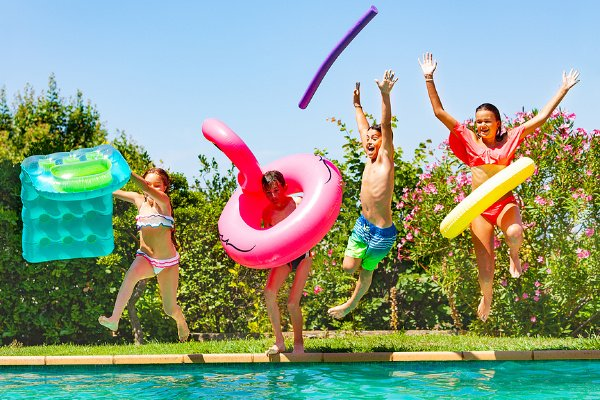 11 Pool Activities for Kids | Whether you have a small inflatable kiddie or paddling pool for toddlers, a big outdoor swimming pool in your backyard, or you spend as many summer days as possible at your local pool, there are TONS of fun games your little ones can enjoy while cooling off and soaking up some vitamin D! From sensory play to building a DIY obstacle course out of inflatable toys - and everything in between - these ideas are equal parts easy and fun!