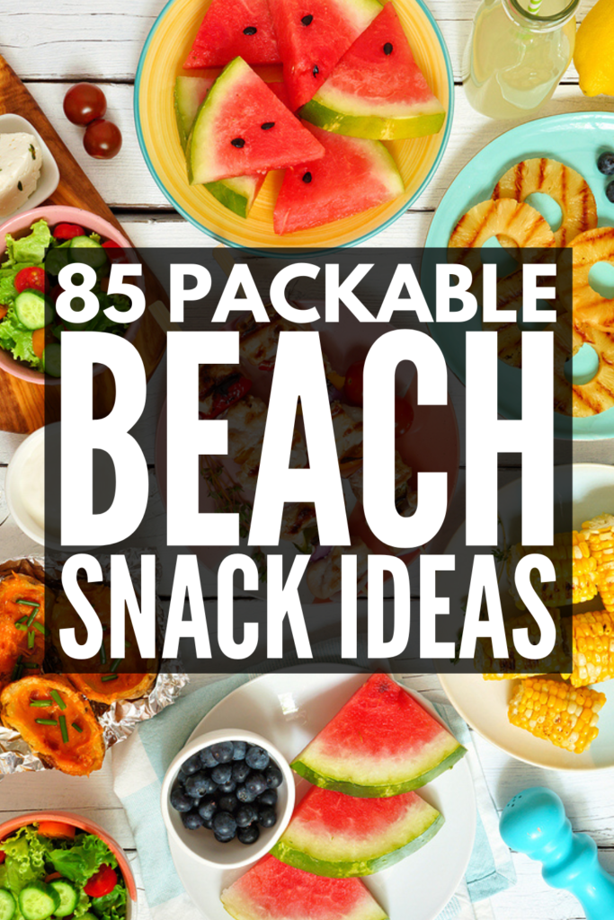 85 Healthy Pool and Beach Snacks | Whether you're looking for beach snacks for kids or for adults, we've got you covered! We've curated tons of on the go ideas for every occasion and dietary need. Whether you want low carb keto friendly snacks, low calorie options, gluten-free ideas, vegan snack options, or beach snacks for kids, these ideas are simple, easy, and tasty to boot! These cheap, homemade, packable snacks will make your day at the beach the best!