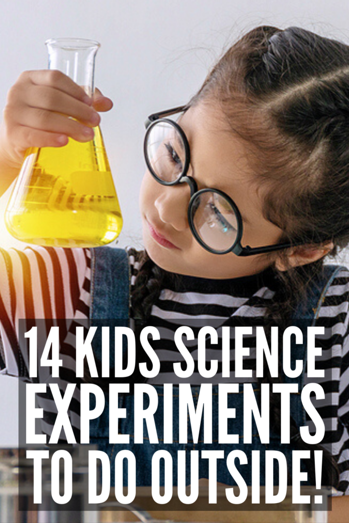 14 Outdoor Science Experiments for Kids | Looking for ideas to keep your kids learning while outside? We've curated the best STEM inspired experiments for kids of all ages. Using simple ingredients you probably already have in your pantry, like baking soda, vinegar, yeast, sugar, and food coloring, these ideas are easy to setup and can be enjoyed year-round - summer, fall, winter, and spring! Whether you have toddlers, kindergarteners, tweens, or teens, these ideas are fun and easy!