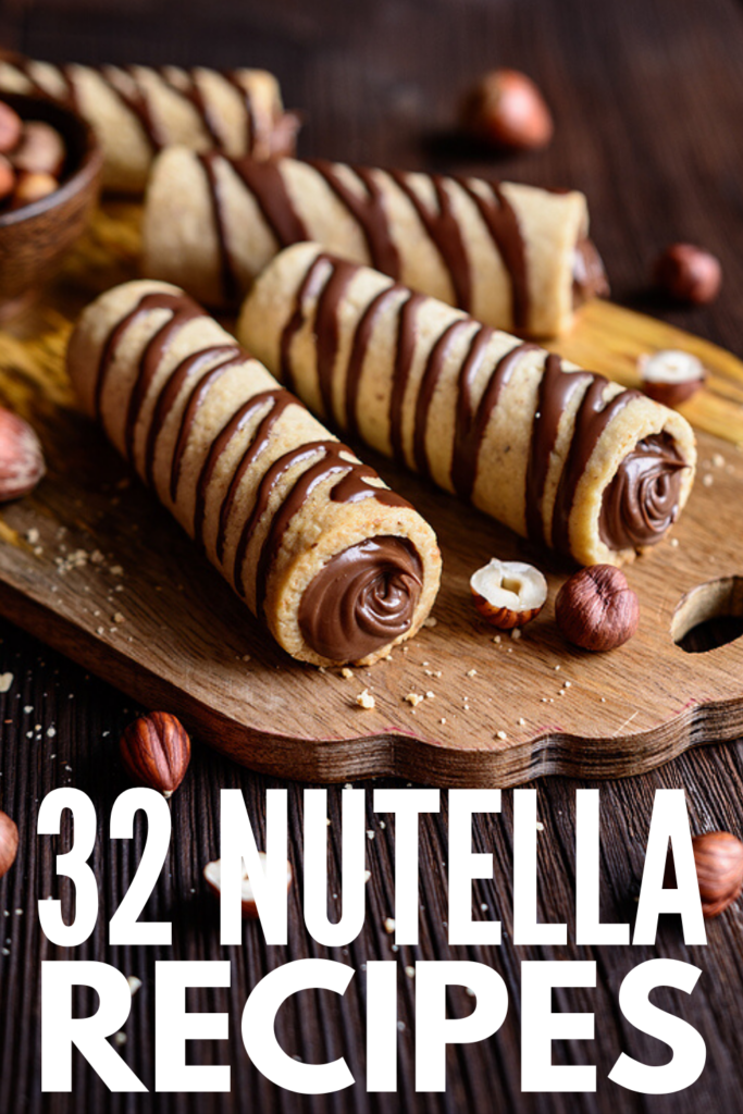 32 Easy and Delicious Nutella Recipes | If you love hazelnut spread as much as me, you'll love this collection of creative Nutella recipes! Whether you're looking for healthy chocolate breakfast recipes, or you're on the hunt for dessert ideas to satisfy your chocolate craving, there's a recipe here for you! We've included links to our favorite homemade Nutella recipes (including a 4-ingredient sugar free vegan option), as well as an assortment of brownies, cookies, crescent rolls, and cakes!