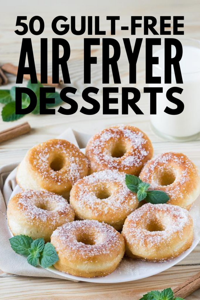 50 Air Fryer Desserts | If you're looking for healthy and easy recipes you can cook in your air fryer, these guilt-free air fryer dessert recipes will not disappoint! Whether you're strictly vegan, follow a low carb, keto diet, prefer paleo recipes, or just want some low fat, low calorie desserts to satisfy your sweet tooth without derailing your weight loss progress, these ideas are quick and delicious! From fried bananas, to crescent rolls, to cheesecake and more, these desserts are delish!