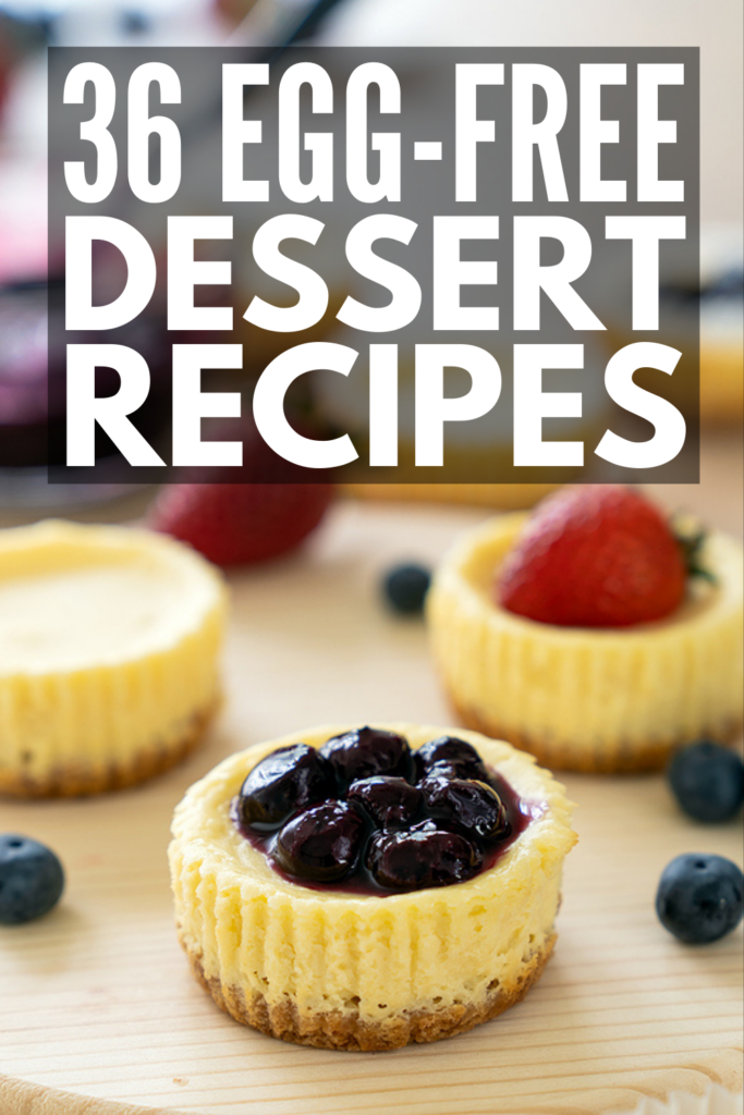 36 No Egg Desserts | Whether you're allergic or intolerant to eggs, these egg-free desserts will NOT disappoint! They are easy (some are only 3 ingredients!) and delicious, and many of them contain no milk, no dairy, no butter, and no flour, making them the perfect treat for those with severe food allergies. We've also included tips for baking with no eggs, including egg substitutes and more! From no egg brownies to a delicious cake mix without eggs, egg-free dessert just got easier!