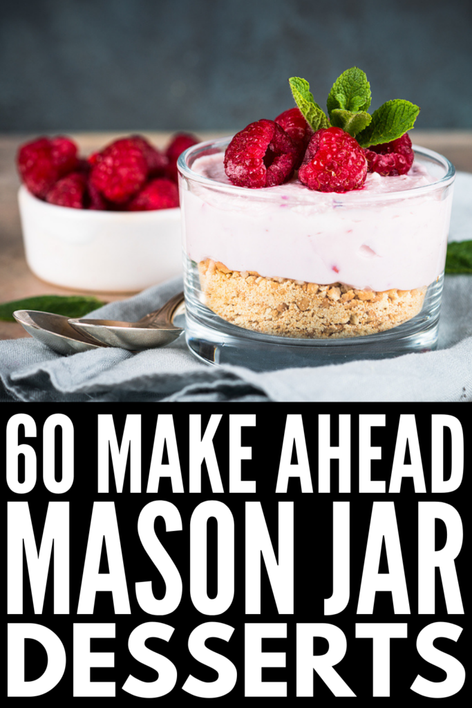 60 Make Ahead Mason Jar Desserts | If you're looking for dessert recipes you can meal prep ahead of time, these dessert in a jar recipes will not disappoint! We've included healthy dessert options, no bake recipes, and chocolate desserts that really hit the spot. Whether you gravitate towards Oreo and brownie desserts, prefer things like strawberry cheesecake and red velvet cake, or key lime pie is your jam, there's a recipe here for you!
