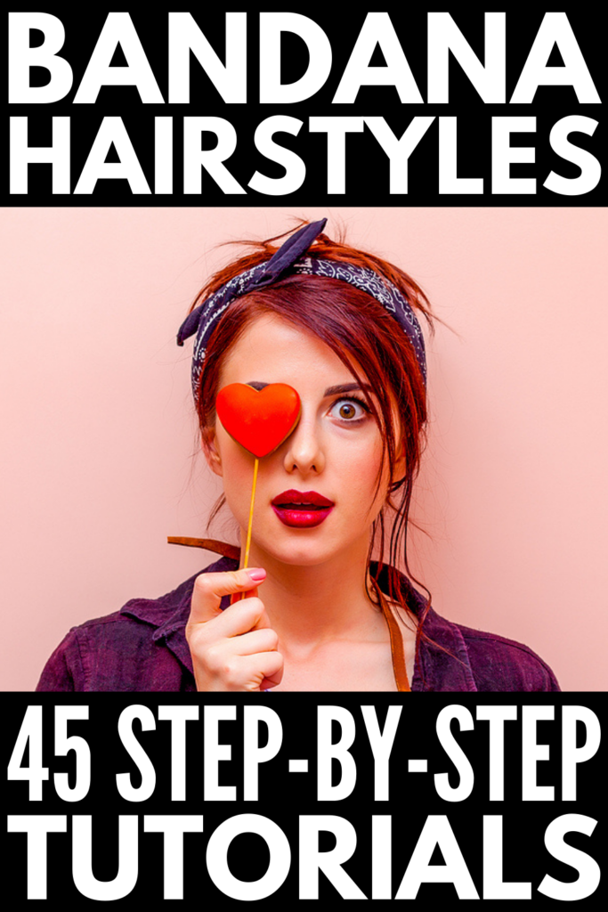 45 Stylish Bandana Hairstyles | If you love retro hair ideas, bandanas, headscarves, and head wraps are a great way to dress up your look, with the added bonus of hiding greasy, second-day hair! If you want to skip the shampoo but still look cute and put together, we've curated the best step-by-step bandana hairstyle tutorials for short, medium length, and long hair. Whether you like to wear your down, in a ponytail, in braids, in an updo, have bangs...there's a style here for you!