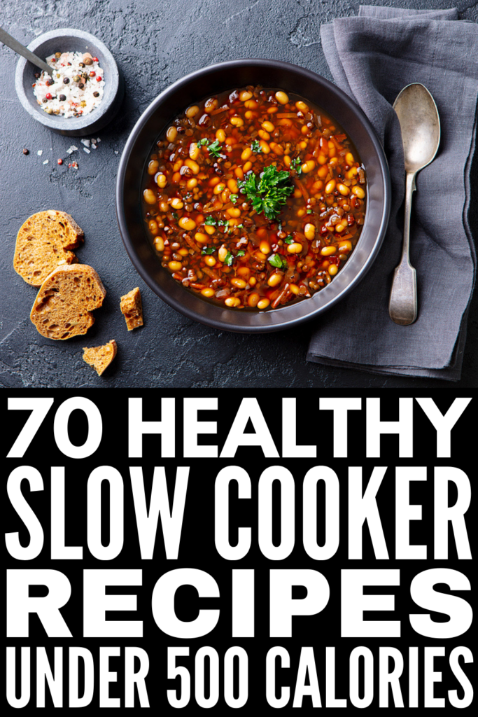 70 Healthy Slow Cooker Recipes Under 500 Calories | If you're on a clean eating kick and want simple and easy slow cooker recipes to help you stick to your goals on even your busiest days, we've curated the best of the best! Whether you're a meat eater like me, and enjoy chicken, beef, or pork dinners, prefer vegetarian options, or you follow a particular diet like the low carb keto, paleo, or Whole30, there's a recipe here for you! These make ahead meals are delish!