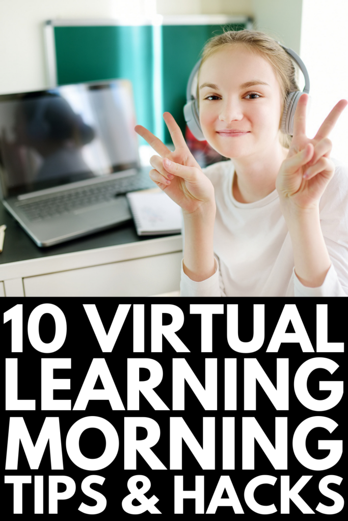 10 Morning Routine Tips For Online Learning | Whether you have kids in kindergarten, elementary, middle, or high school, having a solid morning routine is key to starting the day off right - especially when it comes to distance learning. While you may have a great home setup, it will fall apart if you don't have a proper schedule in place. Click for our best morning online learning schedule tips and hacks to help keep your kids motivated and accountable this school year!