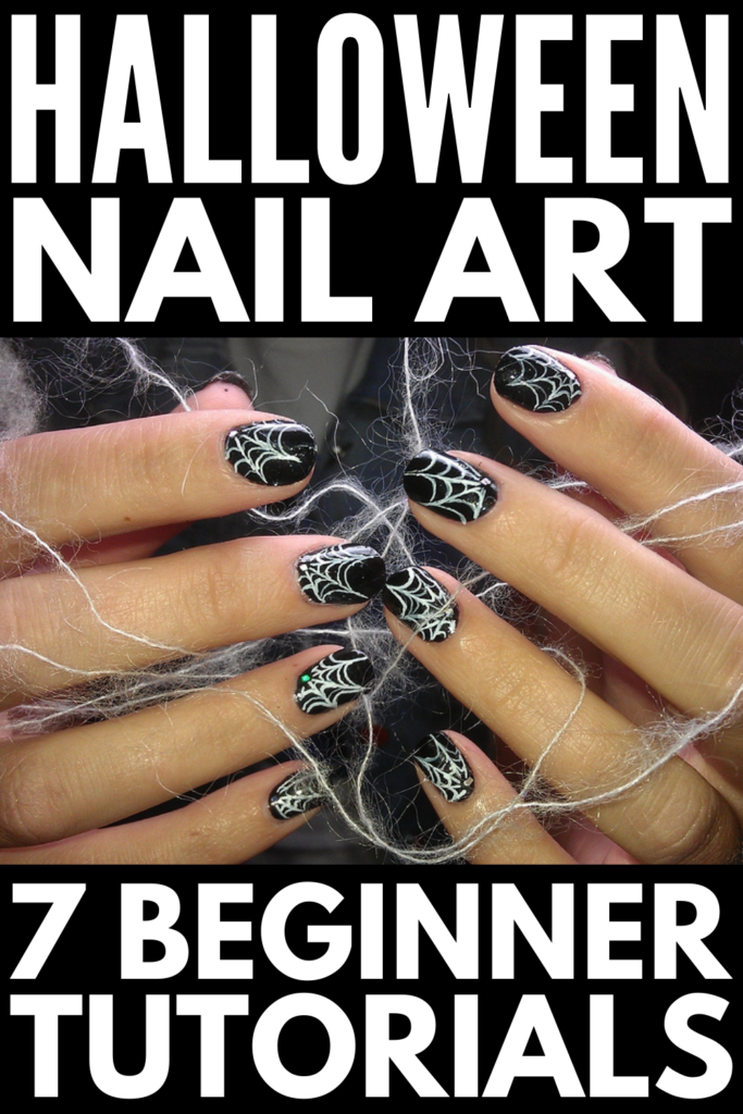 7 Halloween Nail Art Designs to Try | Halloween nail art is such a fun and simple way to add a little excitement in the days and weeks leading up to Halloween. Whether you have gel or acrylic nails, long coffin or stiletto nails, or short plain nails, these step-by-step nail art tutorials will give your hands a serious upgrade this October! Grab your black, orange, and purple polish, and give some of these at home manicure ideas a try.