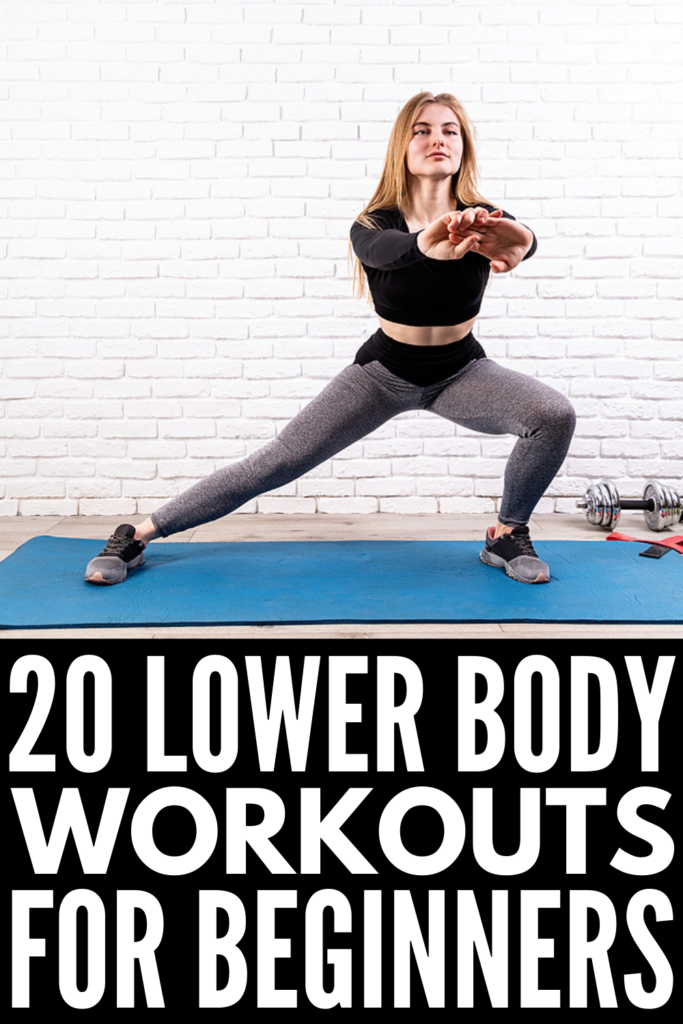 20 Lower Body Workouts for Women | If you're trying to get into a strength training routine and want to know how to tighten and tone your glutes and legs at home with weights or without weights, we're sharing the best exercises to help! Whether you have a set of dumbbells, kettlebells, resistance bands, or a TRX suspension trainer - or no equipment whatsoever - we've curated the best home workouts to help you burn fat and build muscle.