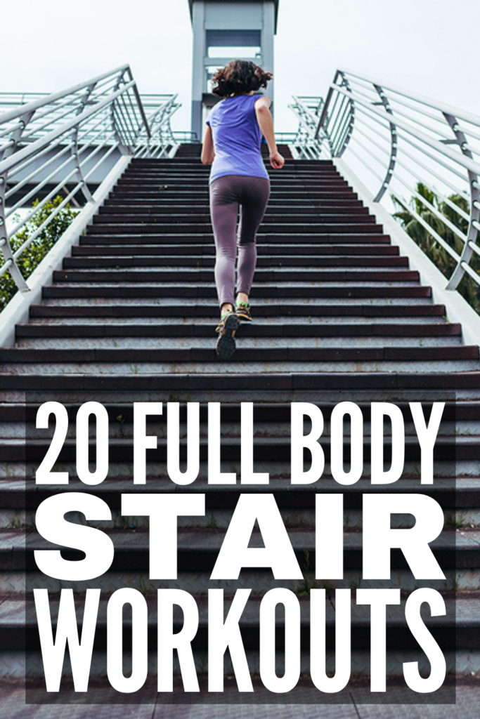 20 Full Body Stair Workouts for Weight Loss | If you're trying to lose weight and build muscle and stamina, climbing a set of stairs is a great way to get a full body workout! Whether you're using outdoor stairs, or have a staircase at home, we've curated 20 staircase workouts you can do anytime, anywhere! Choose between HIIT workouts for cardio, leg or glute workouts to target problem areas, or a full body workout to torch fat and calories. Better yet, combine 2 or more into your own routine!