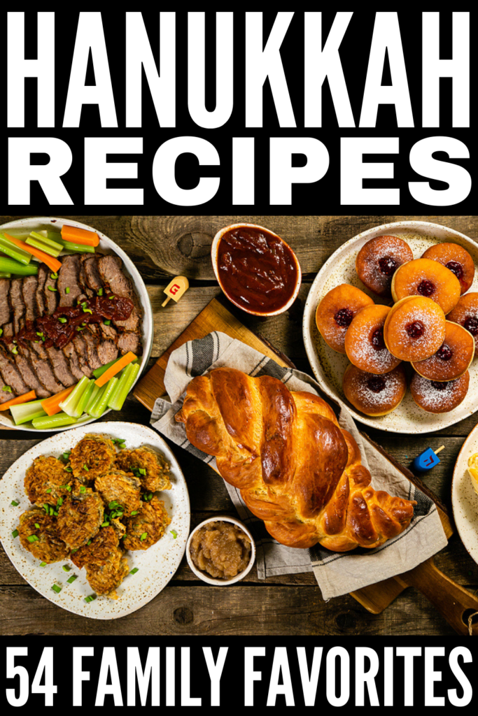 54 Hanukkah Recipes The Whole Family Will Love | Whether you spell it Hannukah or Channukah, this collection of traditional Hanukkah / Channukah recipes is for you! With tons of traditional Jewish food items, including healthy upgrades to support your clean eating and weight loss goals, low carb keto recipes, and vegan and vegetarian options, you can make ahead many of these recipes. We've also included lots of delicious dessert recipes for kids! Happy Holidays!