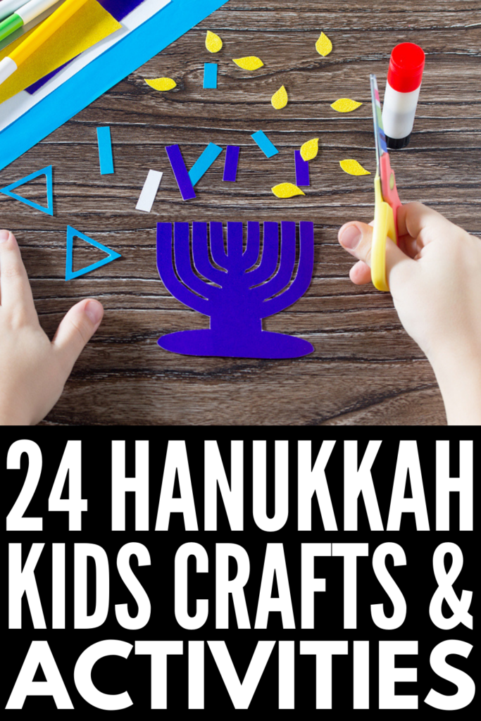 24 Hanukkah Crafts For Kids | Whether you're looking for Hanukkah themed art projects for the classroom, or crafts and activities you can enjoy at home with your kids to mark the holiday, this post has tons of ideas to inspire you. Learn how to make a dreidel out of clay, paper plate menorahs, a sparkling Star of David, Hanukkah slime, Hanukkah pipe cleaner candles, and more! Oh, and don't miss the marshmallow dreidel recipe - it's delicious!