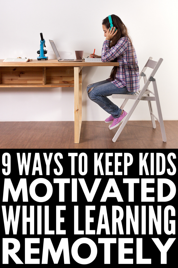 How to Keep Kids Motivated with Virtual Learning | If you want to know how to motivate kids during distance learning, we've got 9 ideas to help! Online learning isn't just a struggle for kids - it's hard for parents too as it's very hands-on and requires a lot of patience and creativity to keep kids engaged and learning. It can be even harder for kids who already struggle to focus and concentrate, and downright impossible for kids with autism and ADHD. I hope these tips help!