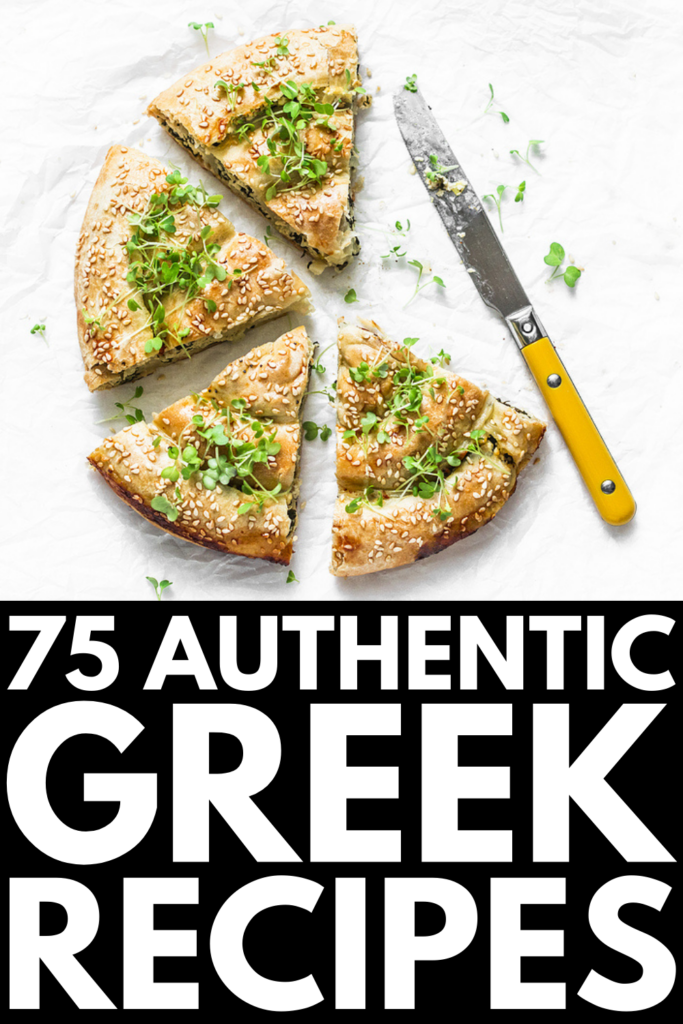 75 Authentic Greek Recipes | If you love Greek food and want to try and make some traditional dishes at home, this post has tons of ideas to inspire you! From brunch and lunch, to appetizers and snacks, to main dishes and delicious desserts, we've curated the best Greek recipes, many of which are easy and healthy. Whether you're a meat lover looking for chicken, beef, or pork recipes, or you prefer things like vegetarian moussaka or spanakorizo, there's a recipe here for you!