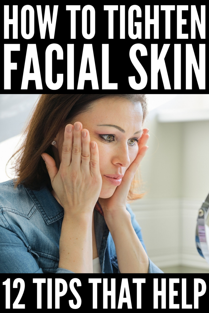 How to Tighten Skin on Your Face | If you're in need of tips and tricks to help tighten the skin on your face after weight loss, this post has lots of helpful ideas for firmer skin and a youthful glow! Whether you want to tighten the skin around your eyes, under your eyes, on your cheeks, under your chin, or on your neck, we're sharing a list of habits to avoid, facial exercise that work, skin care products to invest in, and makeup tips to hide saggy skin fast!