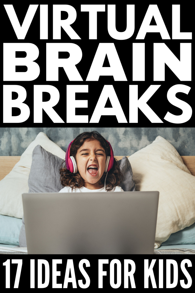 Virtual Brain Breaks for Kids of All Ages | If your child struggles with focus and concentration, distance learning can be particularly tricky. Thankfully, the internet is full of quick and easy brain breaks for virtual learning that teachers can do with students on Zoom, and fun brain breaks parents can incorporate into their virtual learning routine at home. Whether you have a child in preschool, kindergarten, elementary school, or middle school, this post has tons of ideas to inspire you!