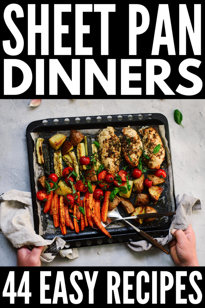 44 No Fuss Sheet Pan Dinners | If you're looking for easy and healthy one pan dinners you can meal prep ahead of time, this collection of quick and easy dinner recipes is just what you need! We've curated a ton of ideas for every palate and dietary need, including low carb, keto-friendly recipes and vegan dinners that are loaded with plant-based protein. And for our meat lovers, we've included a mix of chicken, sausage, steak, pork tenderloin, and beef recipes that will hit the spot!