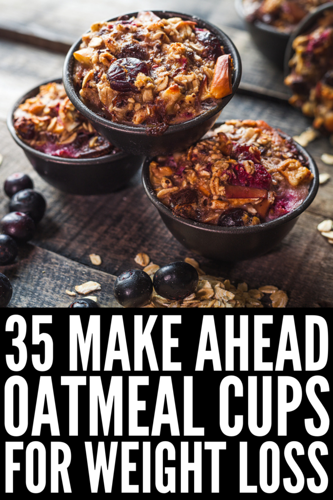 35 Make Ahead Baked Oatmeal Cups | If you're looking for healthy breakfast ideas to kickstart your day, look no further! We've curated the best baked oatmeal cup recipes, which are equal parts easy to make and delicious to eat! This list includes options for every palate and dietary need, including faves like peanut butter banana, banana chocolate chip, apple cinnamon, pumpkin, carrot cake, and blueberry. They are high in protein, helping you feel full and supporting your weight loss goals!