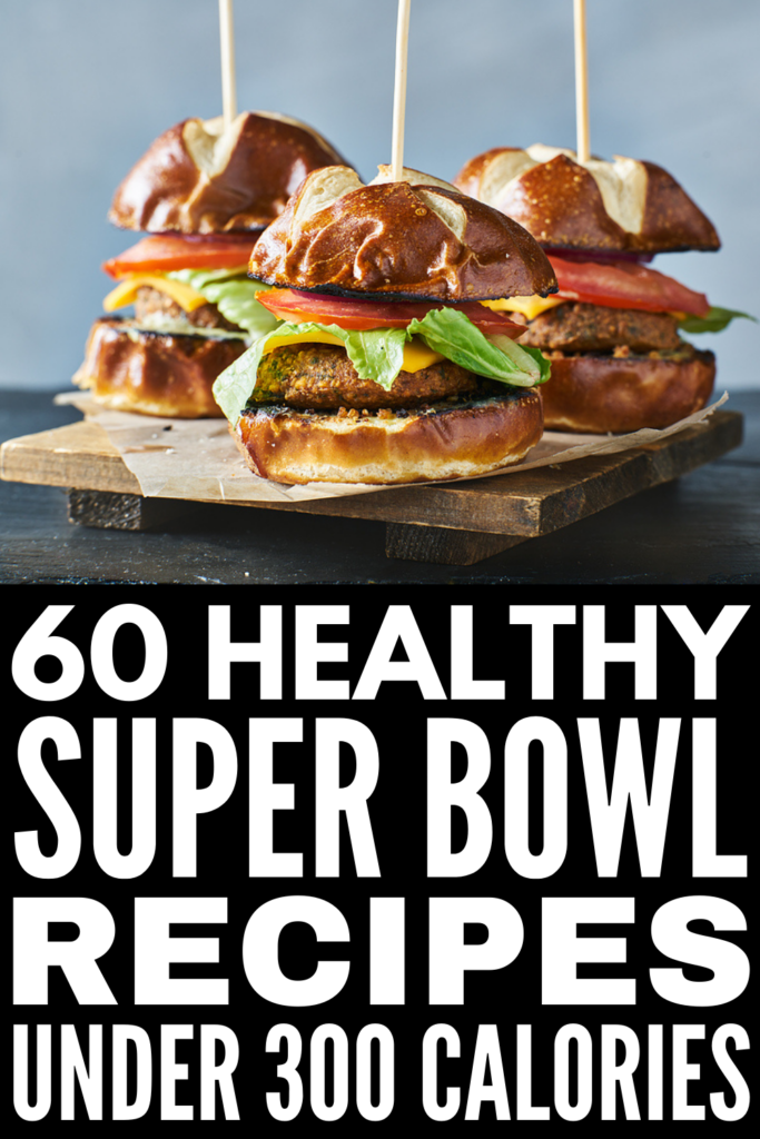 60 Super Bowl Recipes Under 300 Calories | If you're looking for super bowl party food ideas that are healthy and delicious, you're in for a treat! We've curated tons of easy to make low calorie recipes, including vegan and vegetarian options that will leave you satisfied. From appetizers you can make in your crockpot to desserts that hit the spot, this collection of super bowl recipes has a mix of options to suit different diets, including low carb, keto, Whole 30, and gluten-free ideas!