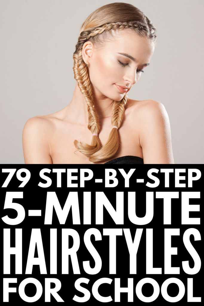 79 5-Minute Hairstyles for School   If you're perpetually running late in the mornings like we are, and you need quick and simple hairstyles for school, these step by step videos and tutorials will inspire you! Whether you have short hair, medium hair, or long hair, thick or thin hair, straight or curly hair, these hairstyles are easy and trendy, and will help simplify your morning routine!