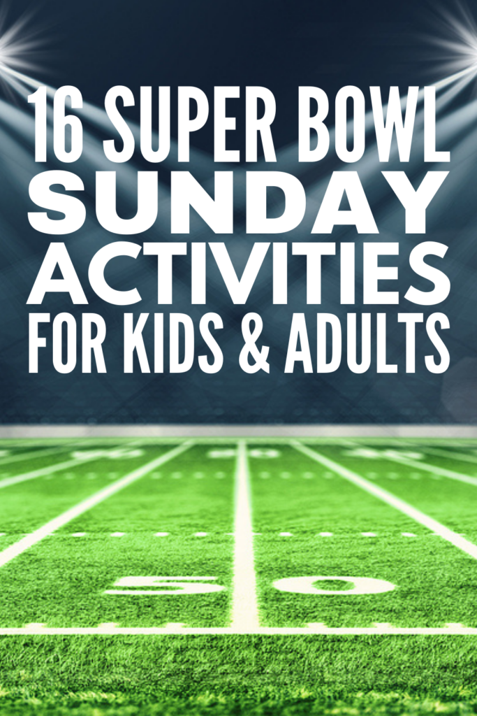 16 Super Bowl Games For All Ages | If you're looking for activities and games to play on Super Bowl Sunday, this post has tons of fun family-friendly ideas to inspire you! From minute to win it games, to free printable bingo board play cards, to prize ideas everyone will love, this collection of Super Bowl Sunday activities for kids and adults is your ticket to hosting a party that will be enjoyed by all ages and stages!