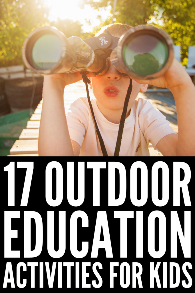 17 Outdoor Education Activities For Kids Of All Ages | This collection of outdoor learning activities is perfect for teachers looking for outdoor activities to include in their daily lesson plans, and parents who are assisting with teaching their kids virtually and/or on the hunt for learning activities they can enjoy after school or on weekends. Whether you need ideas for kids in preschool, kindergarten, elementary school, or for older kids, these ideas are simple, fun, and easy to setup!