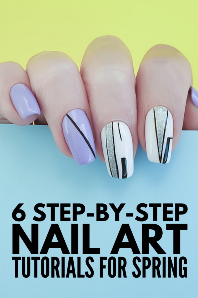 6 Spring Nail Art Ideas | Can't make it to the salon? Want to give yourself a DIY manicure at home? This post has everything you need! We're sharing 9 home manicure essentials and products, plus 6 step-by-step nail art tutorials that are perfect for spring! From monochrome nails, to an easy French manicure for beginners, to geometric nails, to cherry nail designs, these nail art videos are equal parts easy and gorgeous!