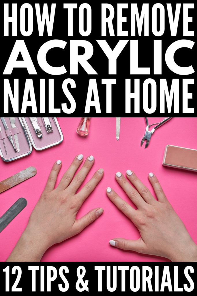How to Remove Acrylic Nails at Home | Very few things feel as wonderful as getting a fresh new set of acrylics. They're perfect if you need to make your short nails longer for a big event, and you can choose a bold color and/or add nail art for added glam. Sadly, removing fake nails isn't as fun or glamorous. It's expensive and time consuming! If you can't get to the salon, this post has all the products, tips, and DIY hacks you need to remove acrylics without damaging your natural nails!