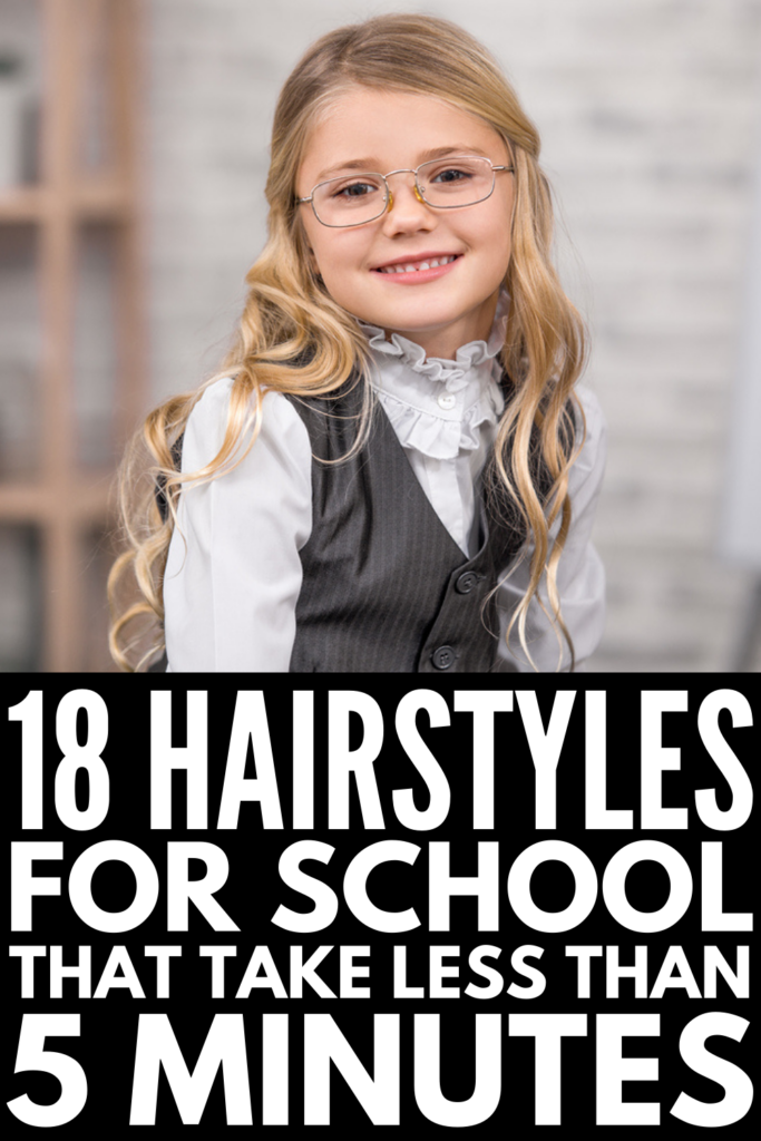 18 Easy 5-Minute School Hairstyles for Kids | Whether your child has short, shoulder length, medium, or long hair, one thing is for certain: you need no fuss, quick hairstyles to simplify your morning routine! If you're constantly running late (like us!), don't stress. We've curated tons of cute hairstyles for school, with step-by-step tutorials and videos that are simple and easy to follow. Choose from braided hairstyles, half up half down looks, upgraded ponytails, messy buns, and more!