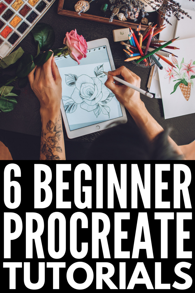 6 Free Step-By-Step Procreate Tutorials for Beginners | If you're a beginner to digital art and drawing, this post has everything you need to start creating your own designs in Procreate! We're sharing helpful short cuts as well as step-by-step videos outlining important basics, including how to work with layers, when (and why) to use alpha lock, clipping masks, and layer masks, symmetry tips for lettering, and tons of other adjustments and image effects to elevate your drawings and designs!