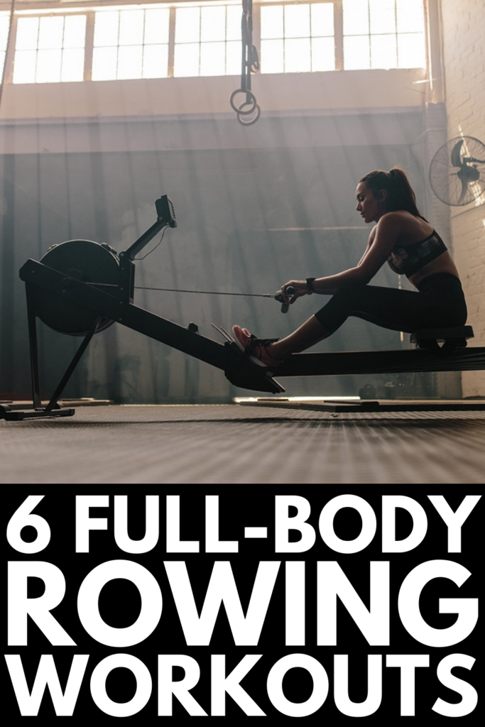 6 Rowing Machine Workouts for Weight Loss | Whether you're a beginner or an old time pro, these rowing workouts are low impact, allowing you to get a full-body workout without risk of injury or wear and tear on your muscles and joints. You can do these at the gym or at home as a standalone workout, or you can add them before and after a run, bike ride, strength training, or CrossFit sesh for a little extra HIIT and cardio!