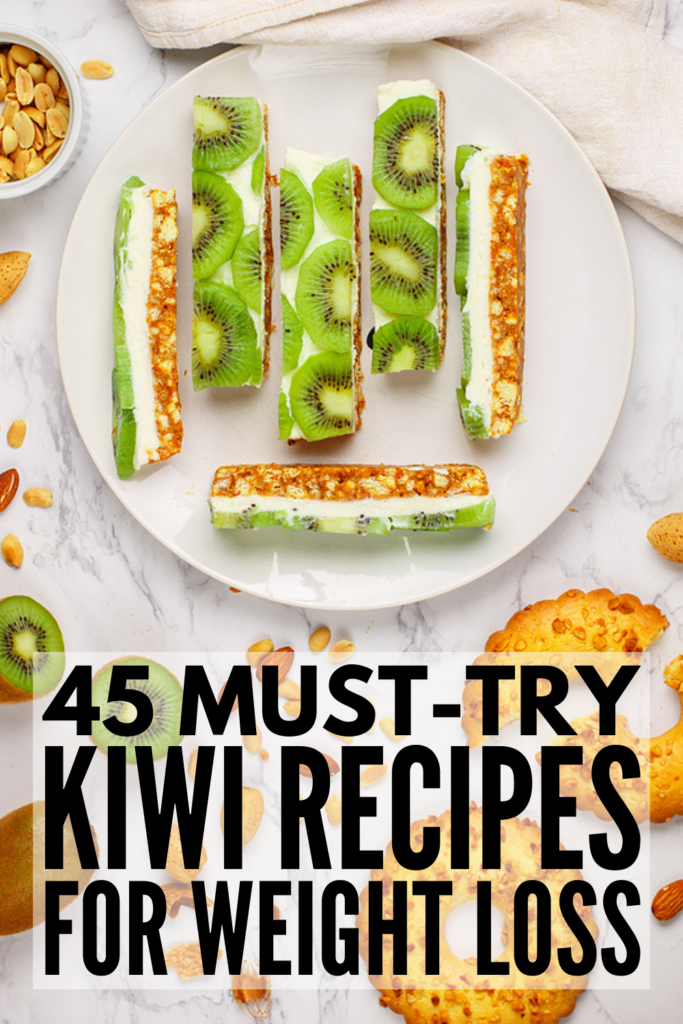 45 Kiwi Recipes for Weight Loss | Kiwi fruit offers tons of health benefits - it is a powerful antioxidant, boosts your immune system, helps with insomnia, and aids in weight loss due to its high fiber content. If you're looking for creative ways to enjoy kiwi, we've curated tons of simple recipes. From healthy smoothie recipes and breakfast muffins, to easy dried kiwi snacks and tasty juicing combos, to yummy dessert recipes (think: kiwi lime pie!), these recipes are delish!