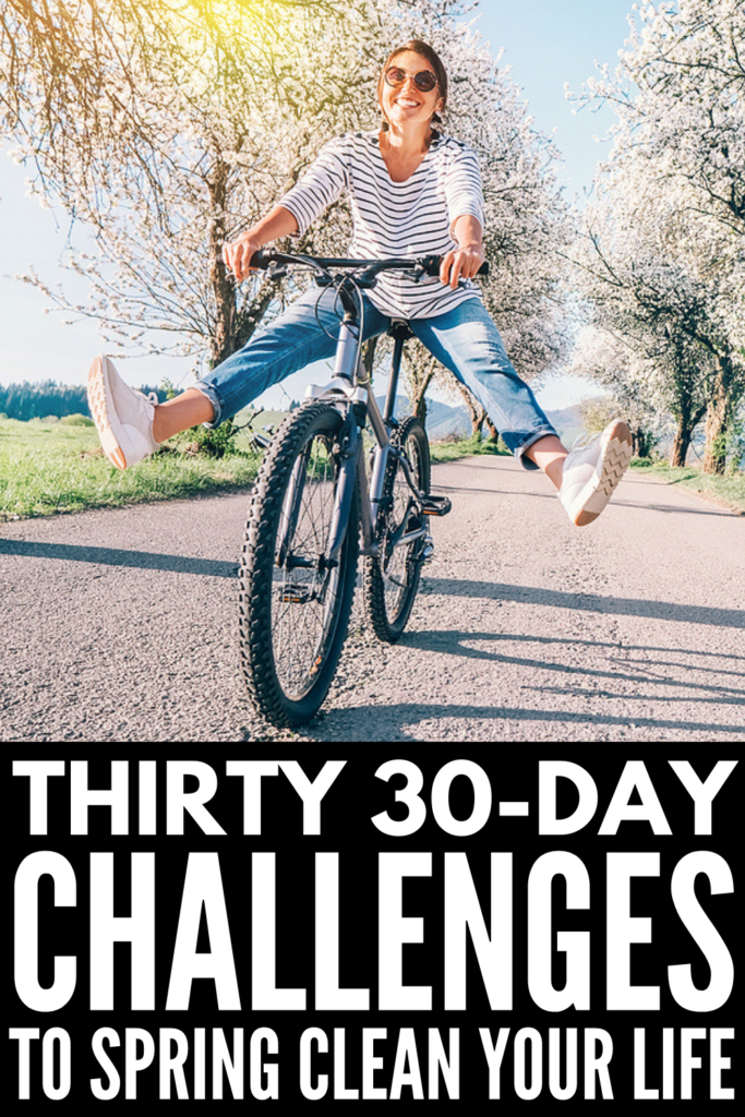 Thirty 30-Day Spring Challenge Ideas to Try | Spring is the perfect time to check in with your resolutions, measure your progress, and adjust or set new goals. Whether you want to lose your winter weight through healthy eating, train for a 5K, practice mindfulness, commit to self-care, or tackle your spring cleaning list, we're sharing tons of simple and creative ways you can break big goals down into manageable 30-day challenges to keep your motivation up.