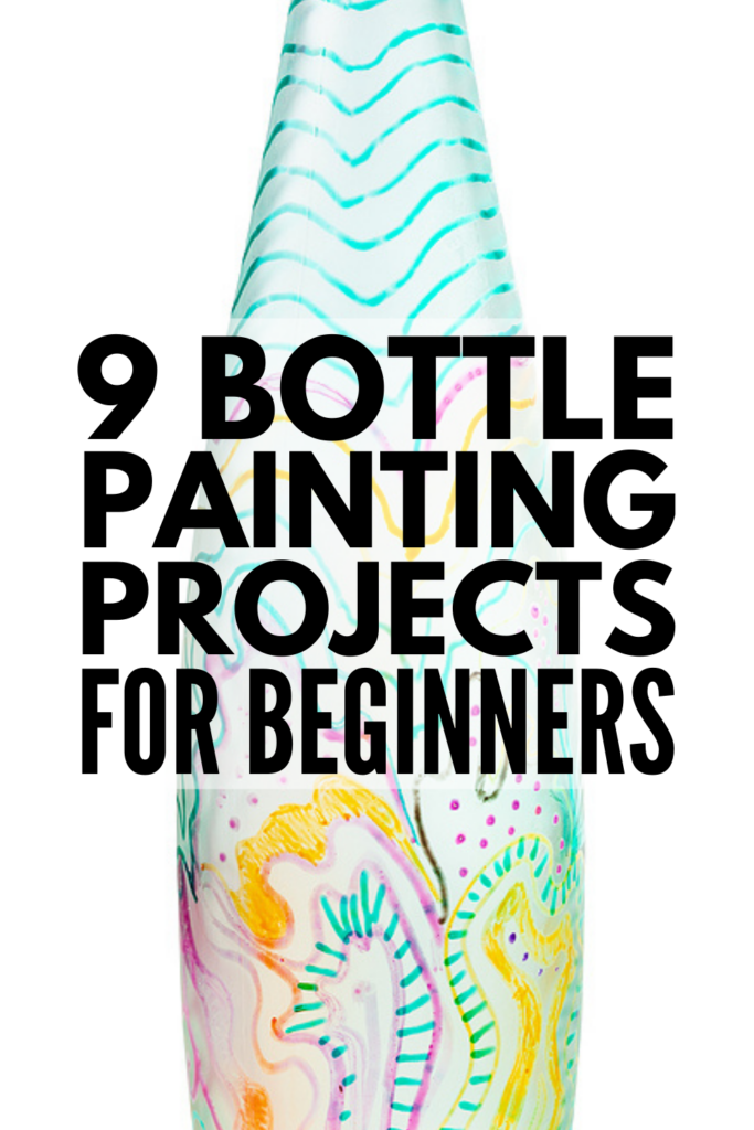 9 Bottle Painting Projects for Beginners | If you're looking for simple, easy, and beautiful bottle painting ideas, grab your empty wine, beer, and water bottles plus your acrylics and give these DIY designs a try! We've included tips and techniques for beginners to help you get started, with bottle painting designs for both glass and plastic bottles. These make beautiful homemade gifts, and many of these are suitable for kids to do!