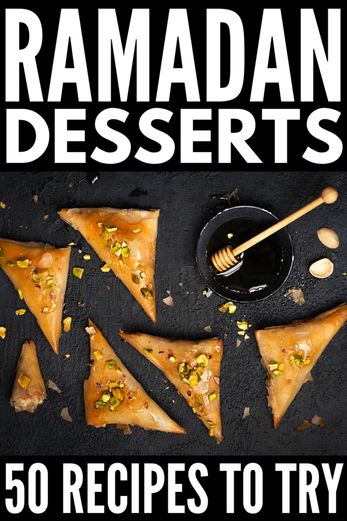 50 Ramadan Dessert Recipes | If you're looking for the best easy dessert ideas for kids and adults to enjoy during Ramadan, this post is for you! We've curated tons of delicious ideas, including traditional Ramadan recipes and healthy alternatives. From a Middle East inspired cheese pastry, to classic baklava, to honey date pudding, to stuffed medjool dates, to Turkish rice pudding, these Ramadan sweets and treats will not disappoint!