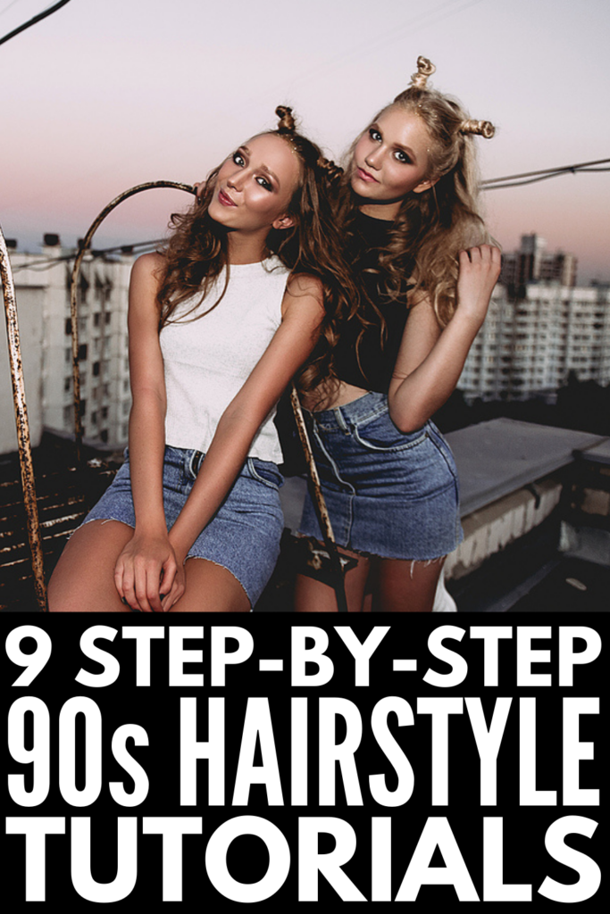 Nine 90s Hairstyles for All Hair Lengths | From butterfly clips and claw clips, to mom jeans and overalls, to cargo pants and doc martens, 90s trends are making a comeback in a BIG way. If hairstyles are your jam, there are tons of easy ways to add a little 90s flare to your locks, and we've curated 9 of the best! Whether you're looking for 90s styles for short hair, for medium hair, or for long hair, this post has step-by-step hair tutorials to teach you how to recreate these looks from home!