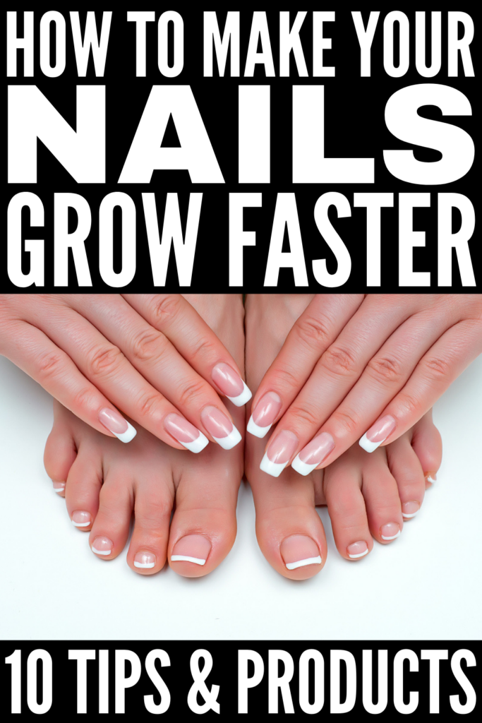 How to Make Your Nails Grow Faster | If you're on the hunt for natural nail growth hacks, this post is for you! While you may not see visible results overnight or in a day, your nails will definitely be longer and stronger in a week with these natural remedies and DIY tips. We're sharing common causes of slow nail growth, 5 drugstore nail growth products we swear by, and 5 at home remedies for beautiful nails that grow faster and stronger than you've ever dreamed!