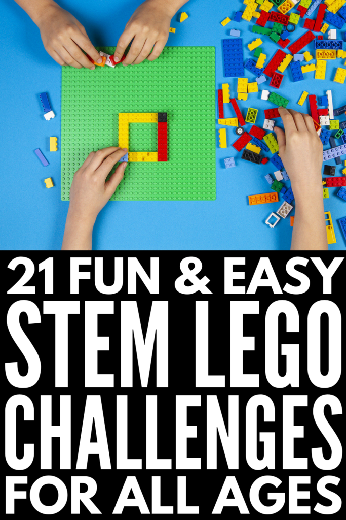21 LEGO Challenges for Kids of All Ages | Before I became a mom, I didn't appreciate just how much you can do with LEGO outside of building houses and cars. The internet is FULL of ideas for kids in preschool, kindergarten, elementary school, middle school, and even high school! Whether you're looking for something simple to build at home with your kids, or you're on the hunt for LEGO stem challenges and activities for the classroom, this post has lots of free ideas to inspire you!