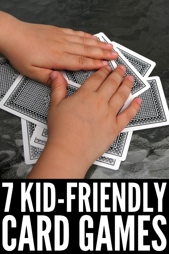 7 Easy Card Games for Kids | If you're looking for simple and fun family game night ideas, playing cards is always a great option. There are so many games you can play with a deck of cards, with single player, 2 player, and multiple player options for all levels. If you have kids in preschool or kindergarten, you've probably already tried the basics like memory, matching, and Uno. This post is a step above, and includes the best family card games for 2 or more players!