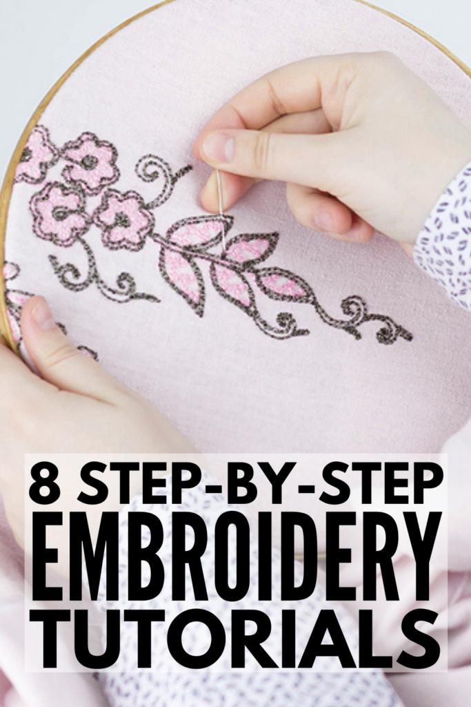 8 Step-by-Step Embroidery Tutorials for Beginners | If you want to learn how to embroider, this collection of embroidery designs, patterns, and projects is just what you need. We've included a list of embroidery essentials, a tutorial to teach you basic embroidery stitches, and 8 hand embroidery ideas that are equal parts easy and beautiful. From flowers and leaves, to cursive letters and modern lettering designs, to hand border embroidery for clothing, this post has it all!