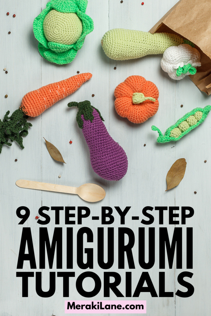 9 Amigurumi Tutorials for Beginners and Beyond | If you're looking for step by step tutorials to teach you how to crochet and knit cute little stuffed animals, dolls, foods, etc., this post is for you! We're sharing everything you need to know - amigurumi basics, how to get started, tools and essentials to invest in, crocheting tips and hacks for beautiful designs, and lots of tutorials that include free patterns and instructions so you can make simple designs that are oh so adorable.